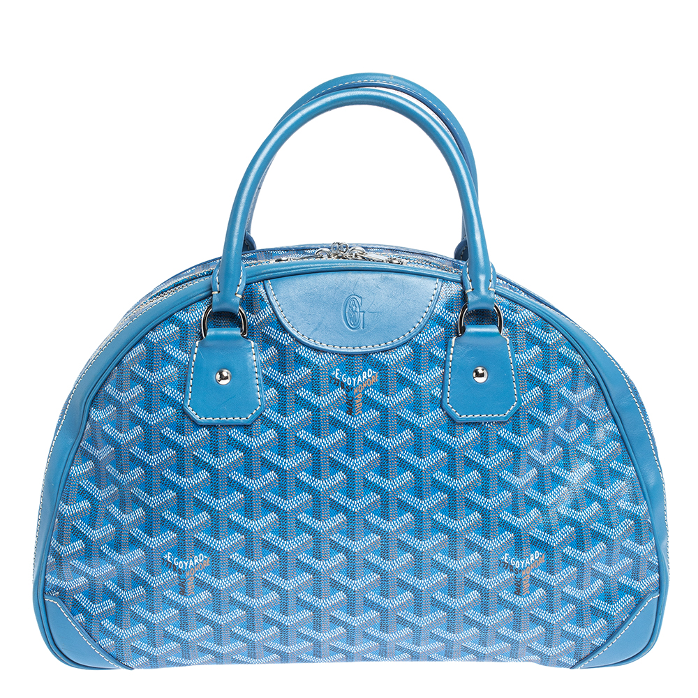 Goyard Blue Goyardine Coated Canvas and Leather St. Jeanne MM Bag