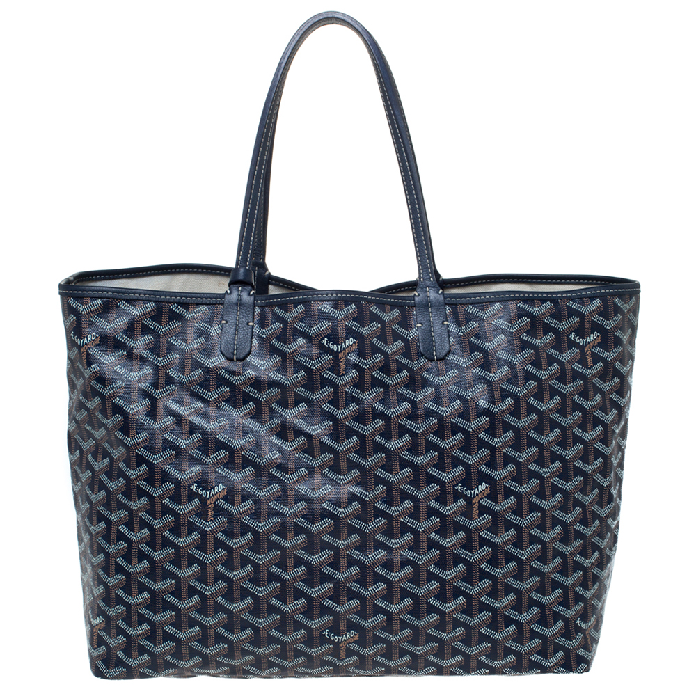 Goyard Navy Blue Goyardine Coated Canvas St. Louis PM Tote