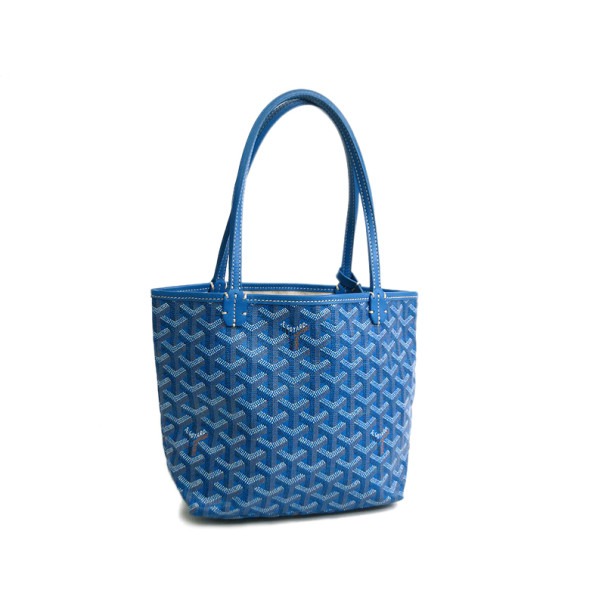 Buy Goyard Blue Leather Canvas Saint Louis Junior Jr Tote Bag 32425