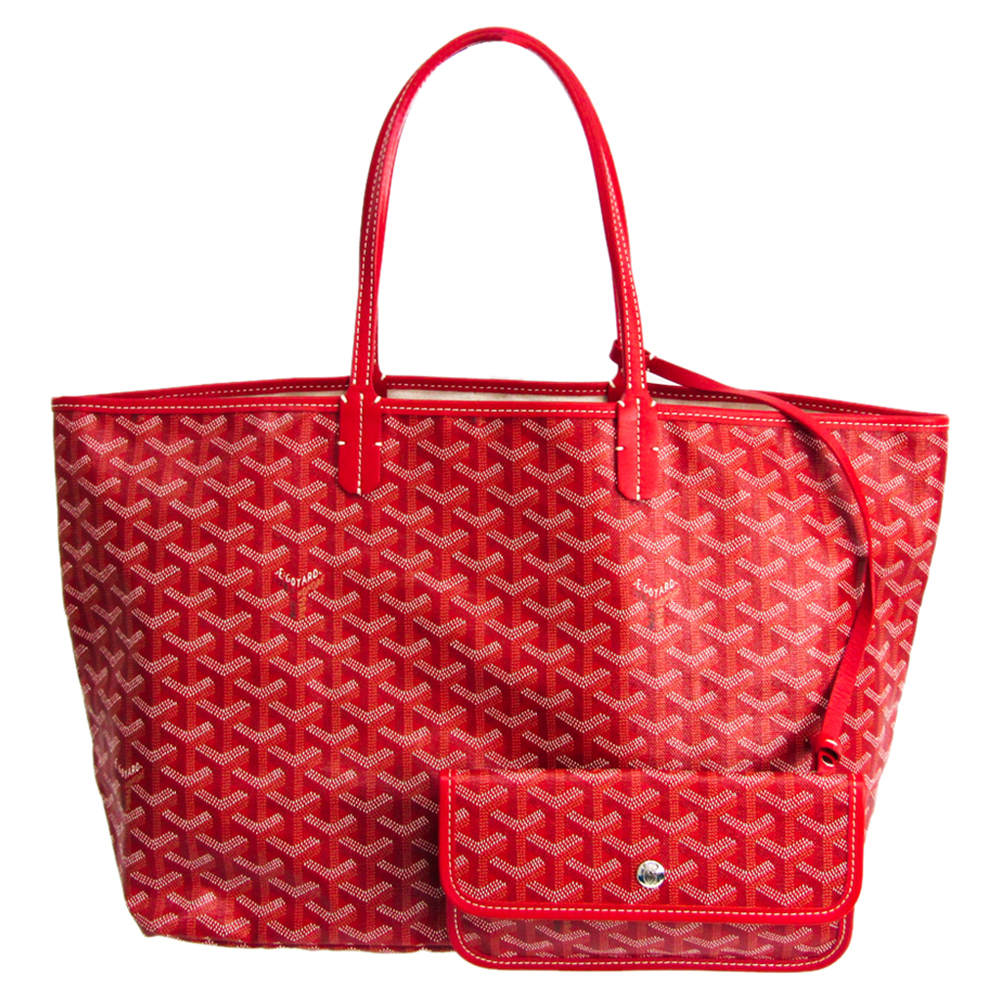 Pre-owned Goyard Red Coated Canvas St. Louis Tote Pm Bag
