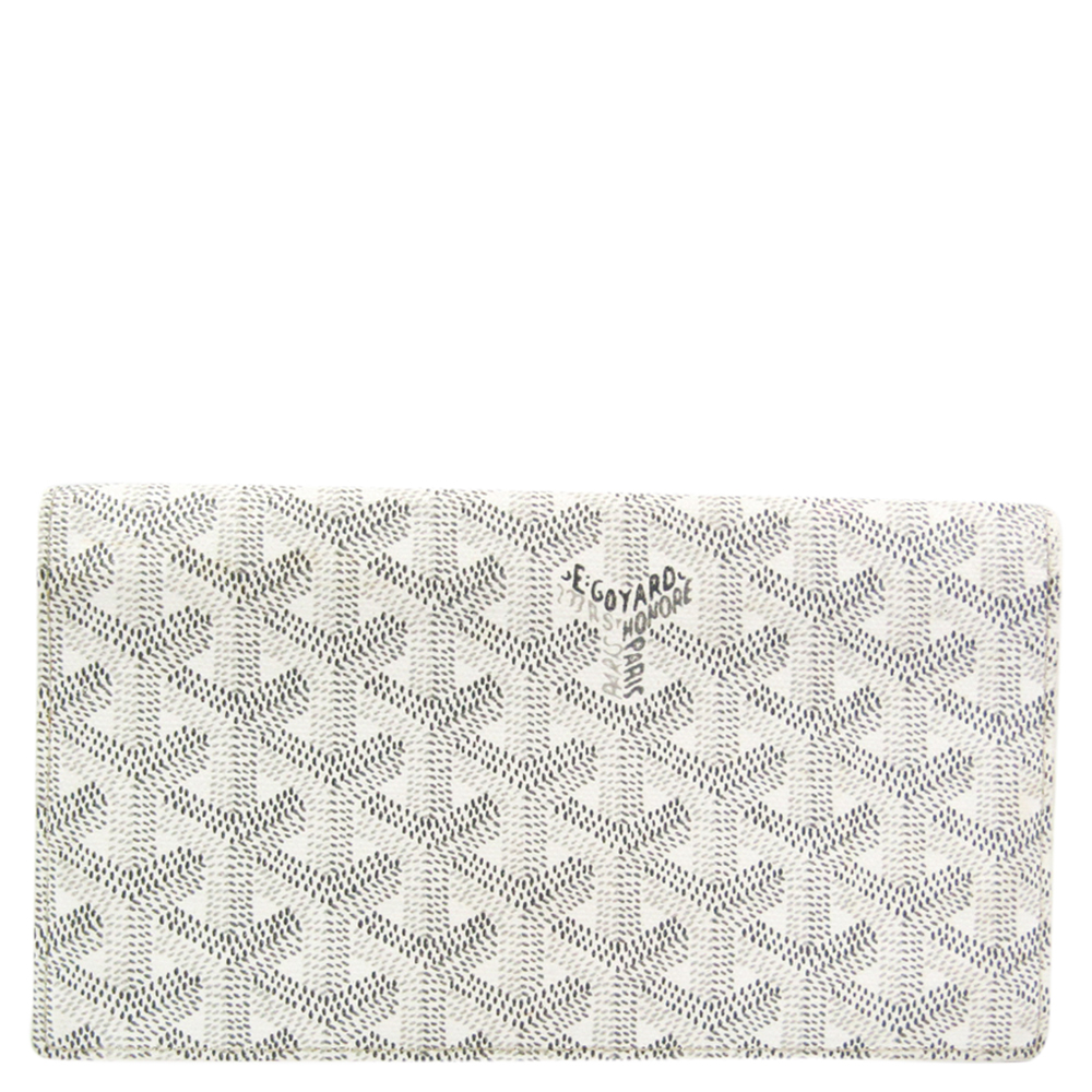 Pre-owned Goyard White Coated Canvas Richelieu Wallet In Grey