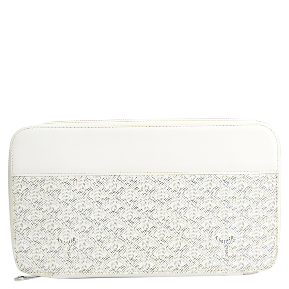 Pre-owned Goyard White Coated Canvas Opera Wallet