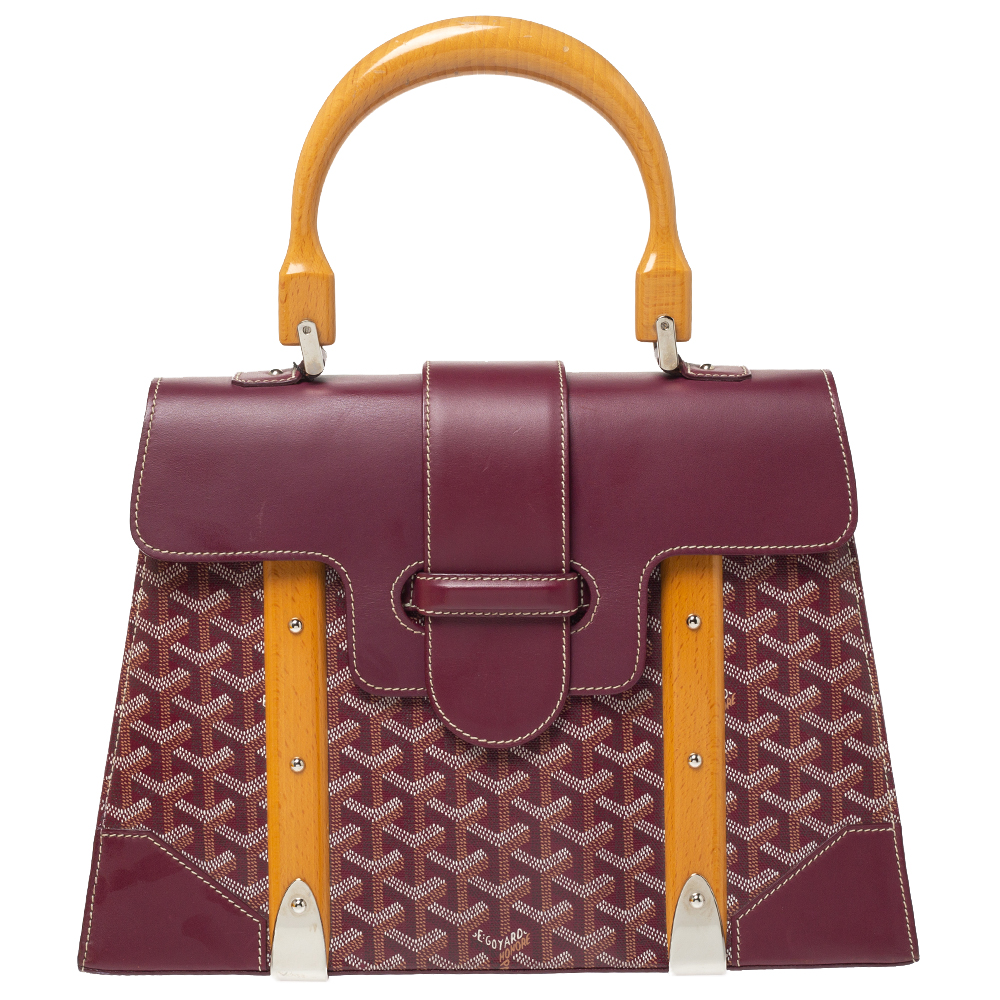 Goyard Burgundy Coated Canvas and Leather MM Saigon Top Handle Bag