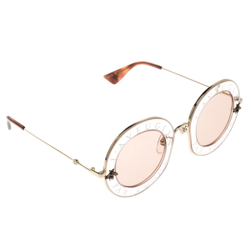 f54233dcca Buy Gucci Pink GG0113S L Aveugle Par Amour Round Sunglasses 132448 ...