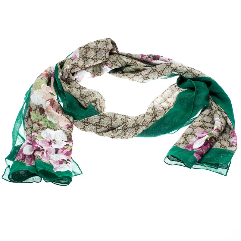 1ea973fd Gucci Multicolor GG Pattern Blooms Print Cotton and Silk Scarf