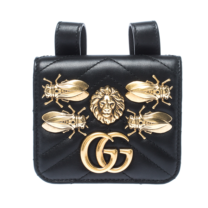 Gucci Black GG Marmont Matelasse Leather Animal Stud Belt Accessory