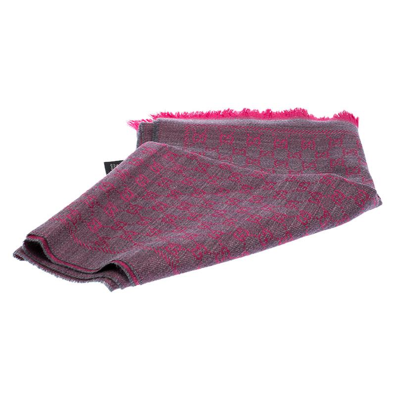 Gucci Pink Monogram Wool Jacquard Scarf
