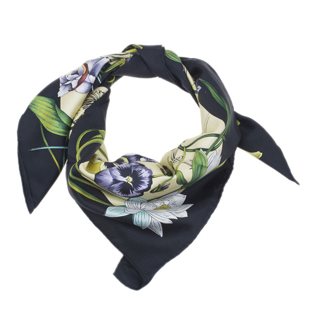 1111badd905 Gucci Black and Yellow Floral Silk Square Scarf