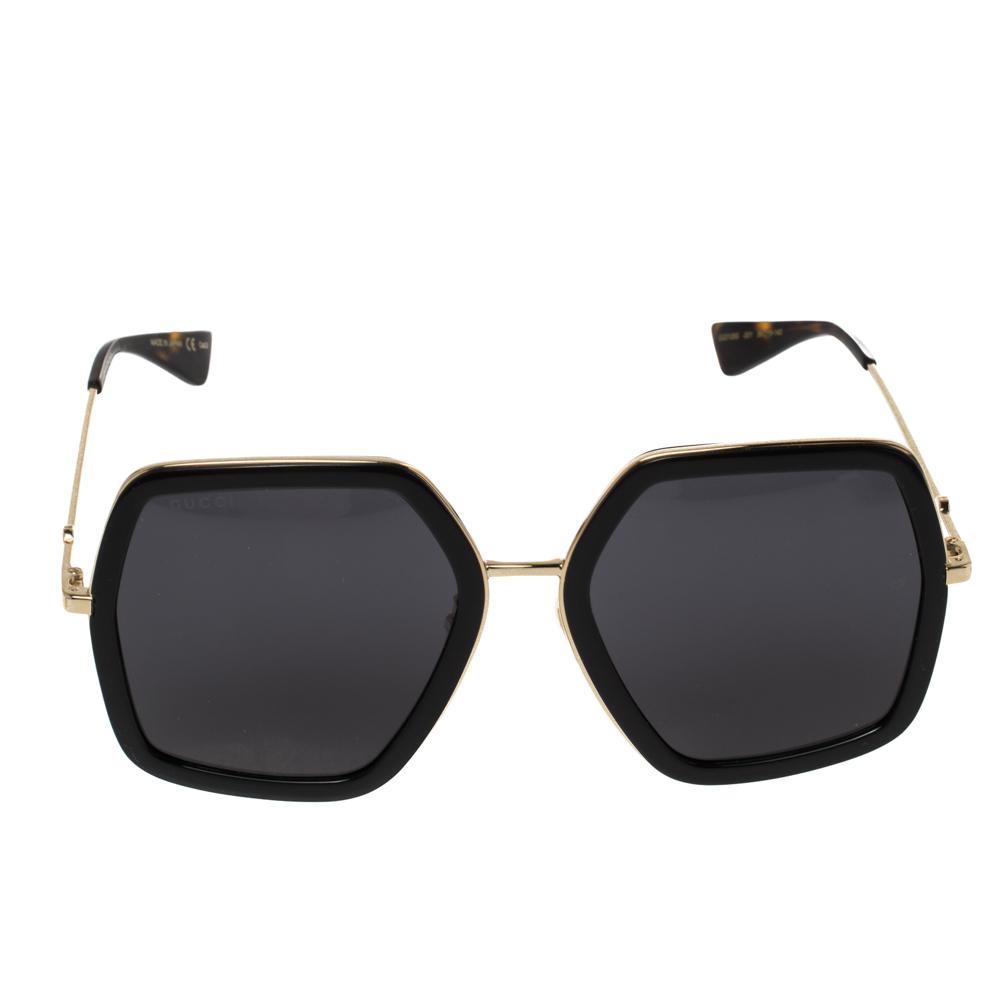 Gucci Gold Tone/ Grey GG0106S Oversized Sunglasses