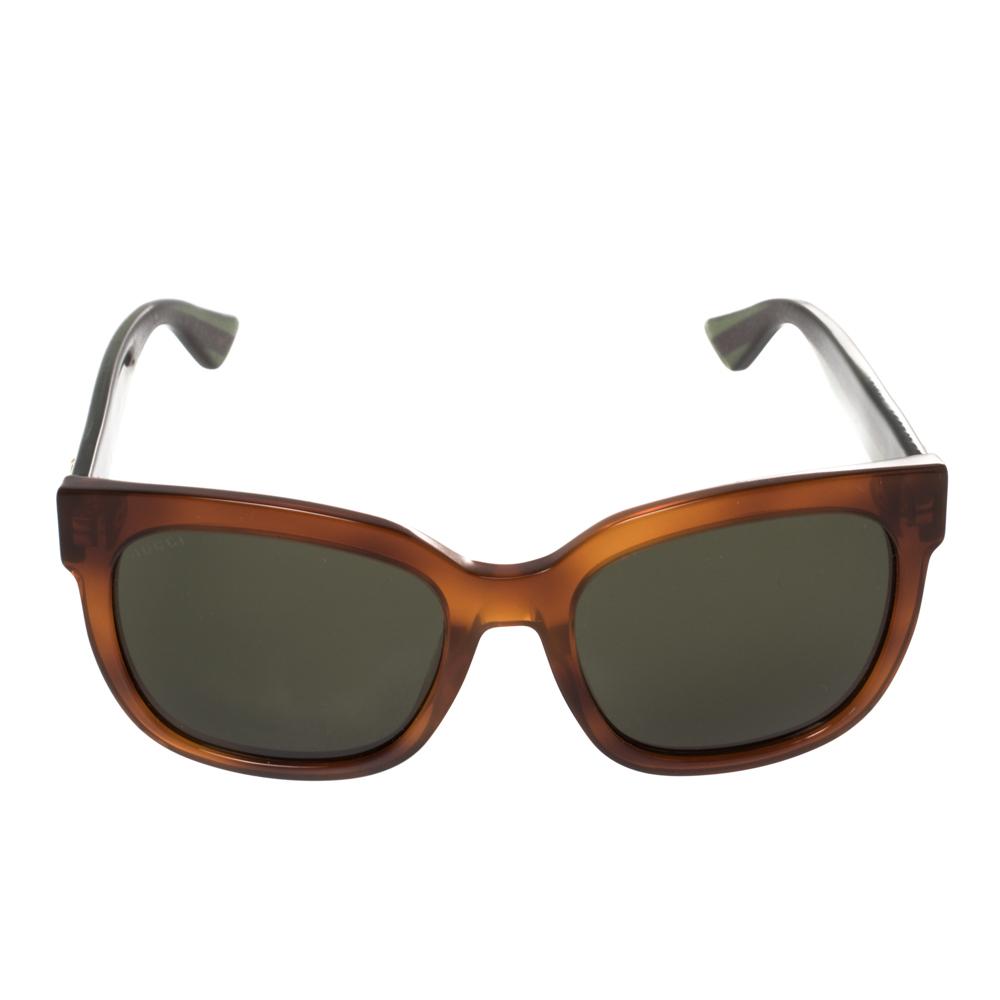 Gucci Brown/Green Web Stripe GG0034S Square Sunglasses
