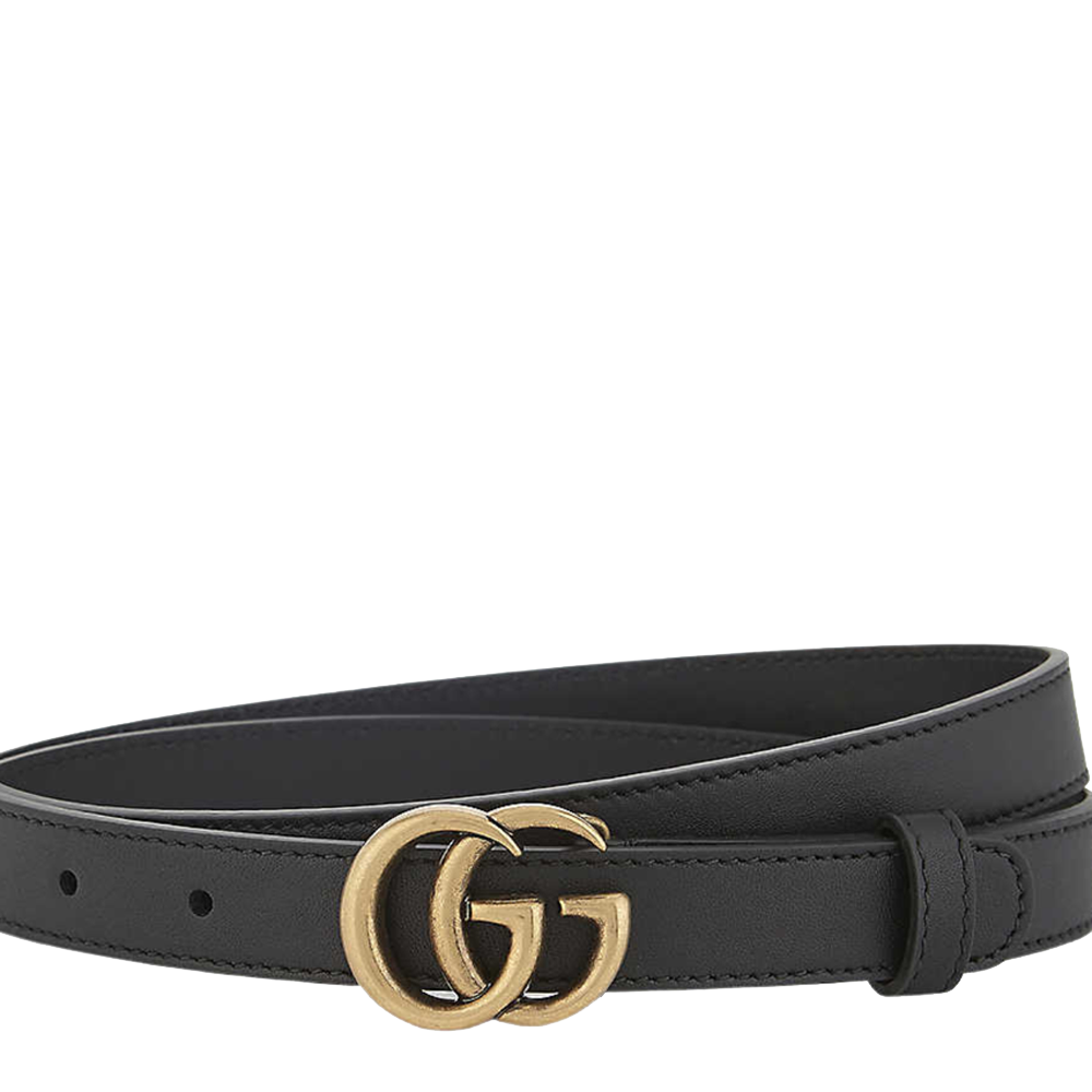 Pre-owned Gucci Black Leather Double G Buckle Belt
