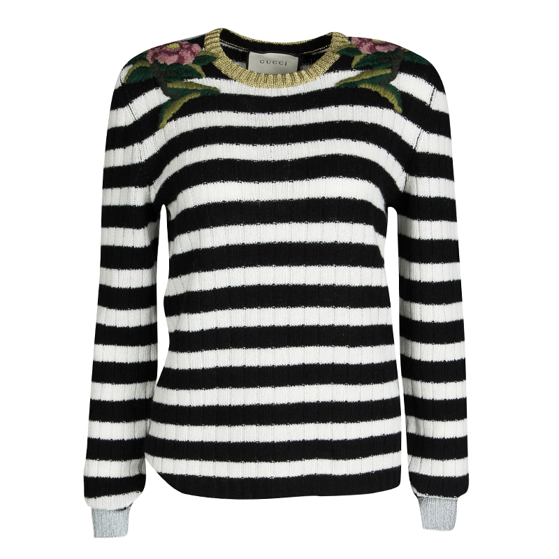 eb8c8cfd72c ... Gucci Monochrome Striped Floral Embroidered Cashmere and Wool Sweater  L. nextprev. prevnext