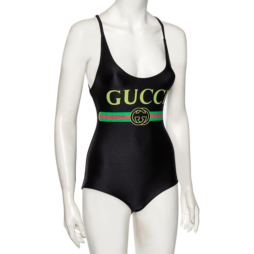 Gucci Black Lycra Logo Printed Sparkling Swimsuit XXS