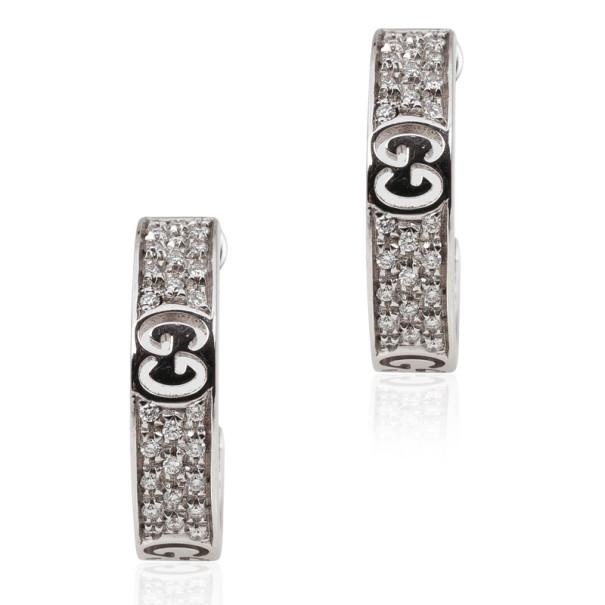 ea5fda549ae Buy Gucci Diamond 18 K White Gold Hoop Earrings 29306 at best price ...
