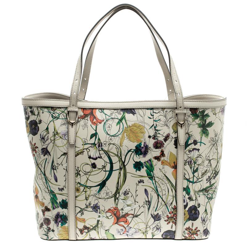cc72991a7ae ... Gucci Off White Flora Print Leather Medium Tote. nextprev. prevnext
