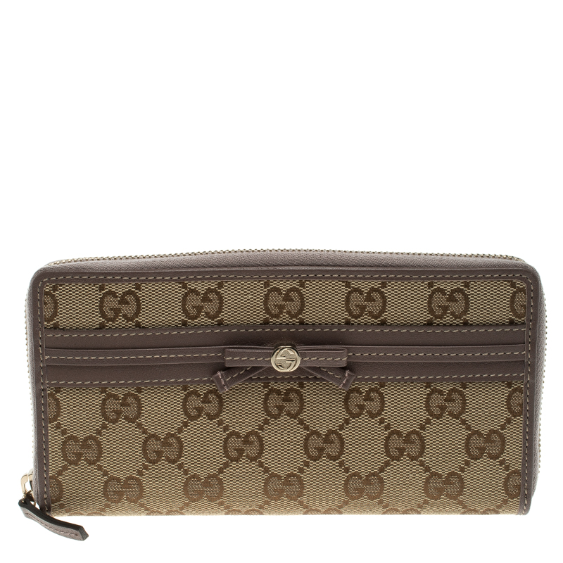 eaec78388fb9 Buy Gucci Lilac/Beige GG Canvas Ribbon Zip Around Wallet 115551 at ...