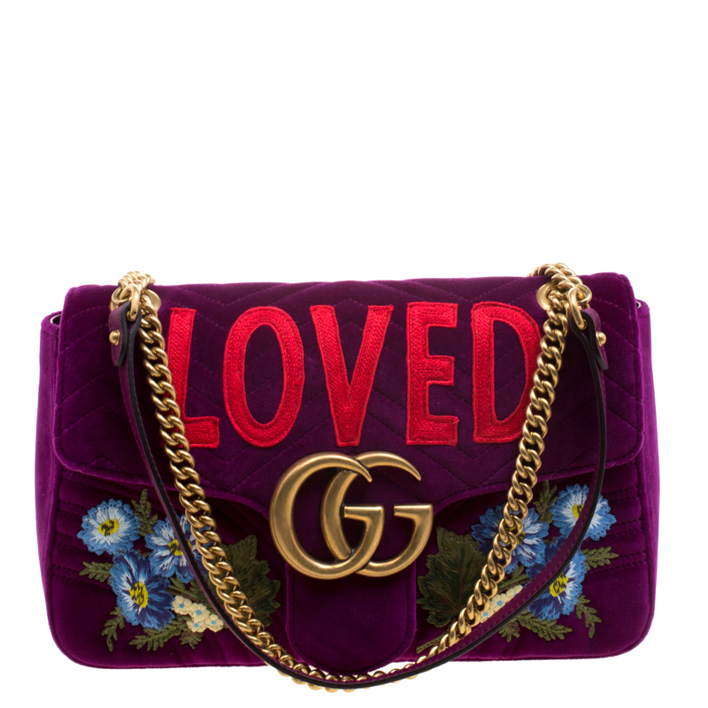 5c9458edda49 ... Gucci Purple Velvet Small Embroidered GG Marmont Shoulder Bag. nextprev.  prevnext