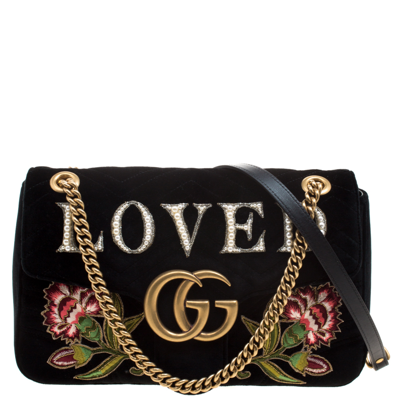 0073cc0d9da7a Buy Gucci Black Velvet Small Embroidered GG Marmont Shoulder Bag ...