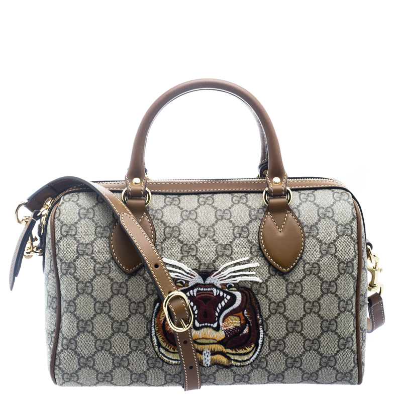 Gucci Beige/Brown GG Supreme Canvas Limited Edition Tiger Boston Bag