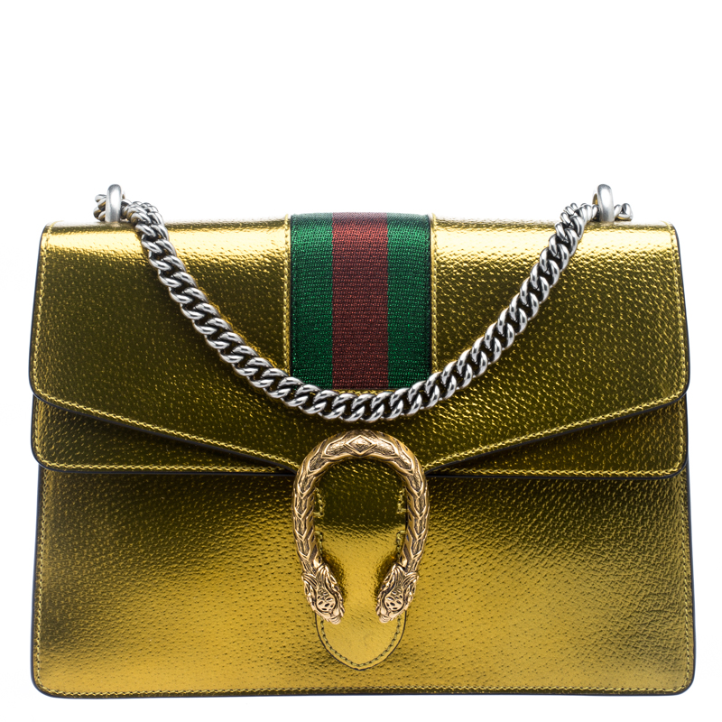 c398bb25502206 ... Gucci Gold Leather Medium Dionysus Web Shoulder Bag. nextprev. prevnext