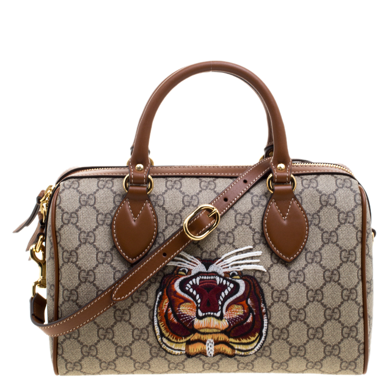 a619a9bf43f ... Gucci Beige Brown GG Supreme Canvas Limited Edition Tiger Boston Bag.  nextprev. prevnext