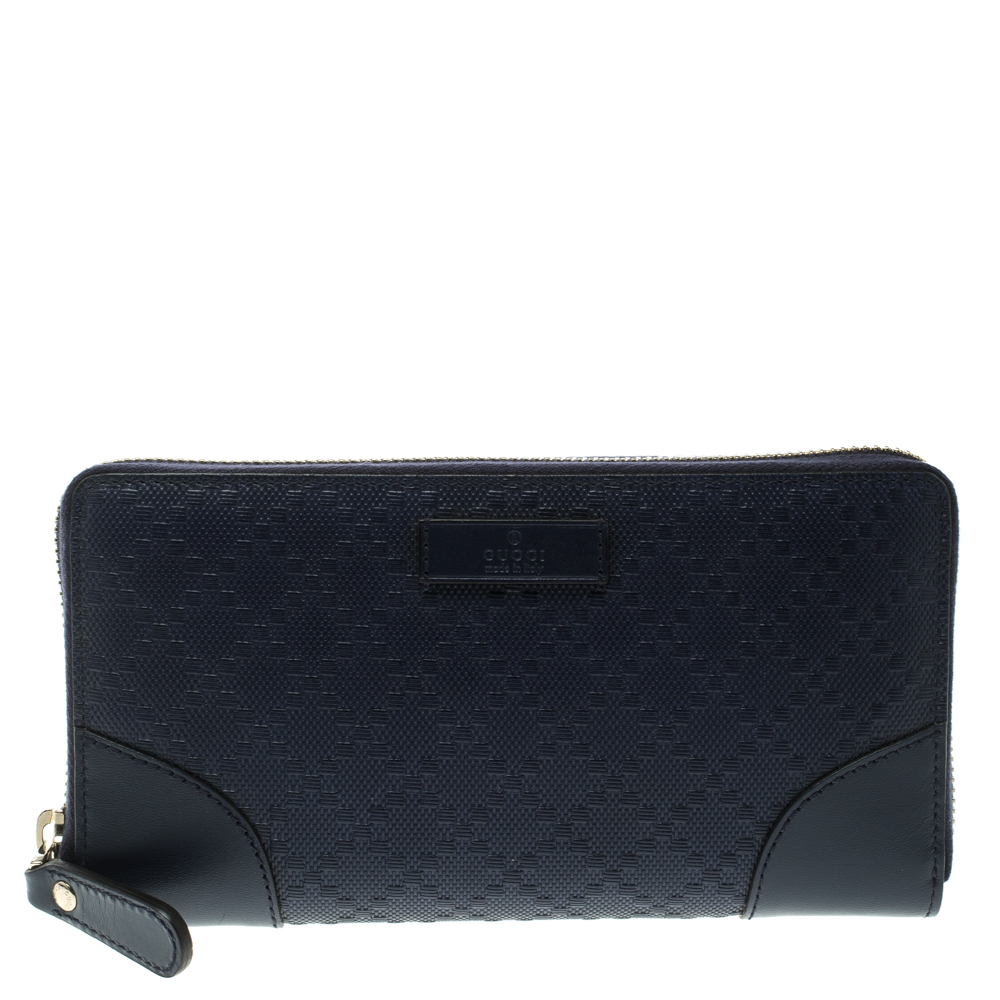 b4424d4249c Gucci Navy Blue Diamante Leather Zip Around Wallet 124838 At