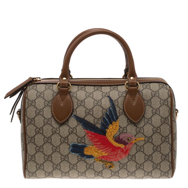 b29a59885a7c ... Gucci Beige Brown GG Supreme Canvas Limited Edition Bird Boston Bag.  nextprev. prevnext