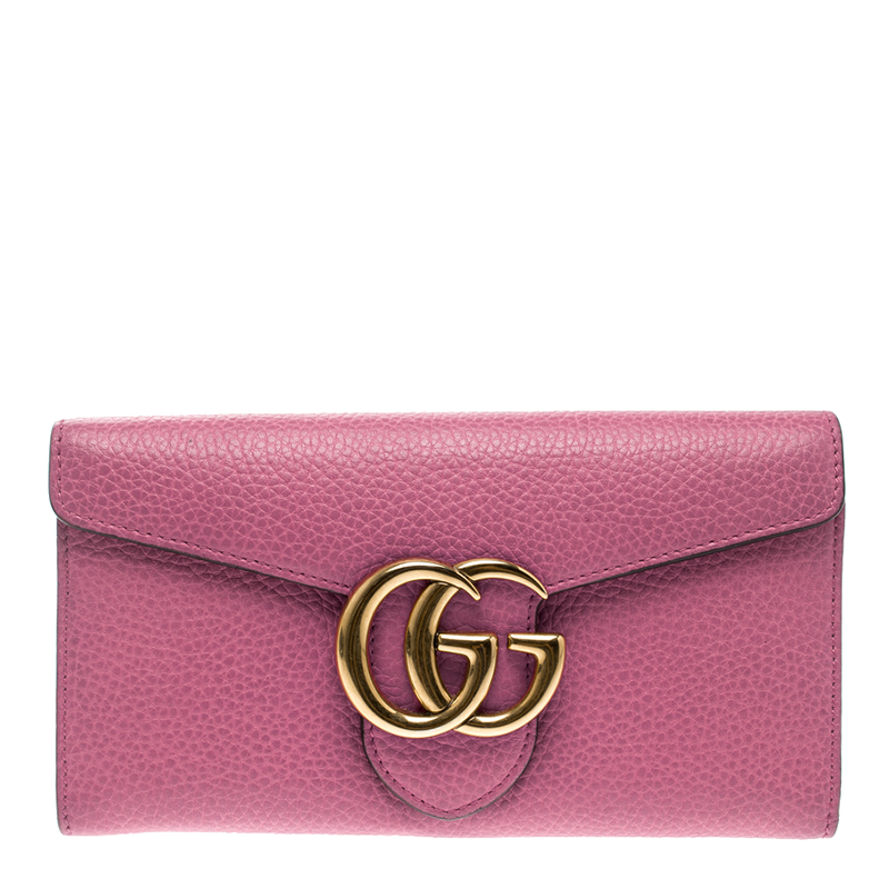 d4fba852c519 Buy Gucci Pink Leather GG Marmont Continental Wallet 130086 at best ...