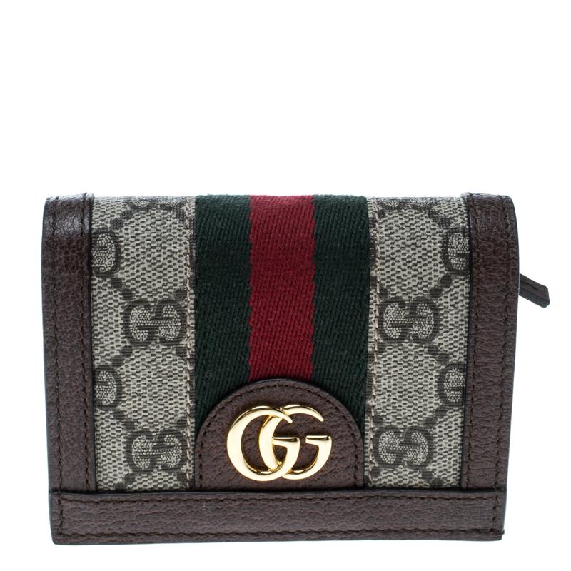 fa1ec0d9323e Buy Gucci Beige/Brown GG Supreme Canvas and Leather Ophidia Web ...