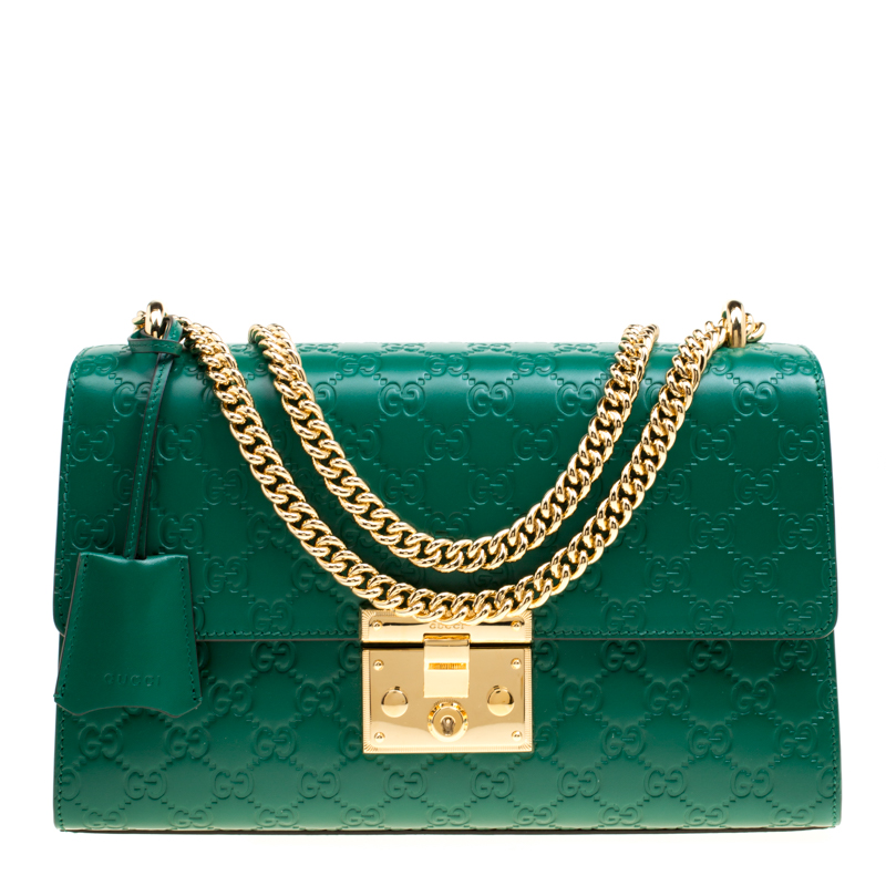 3ea98131c46a ... Gucci Green Guccissima Leather Medium Padlock Shoulder Bag. nextprev.  prevnext