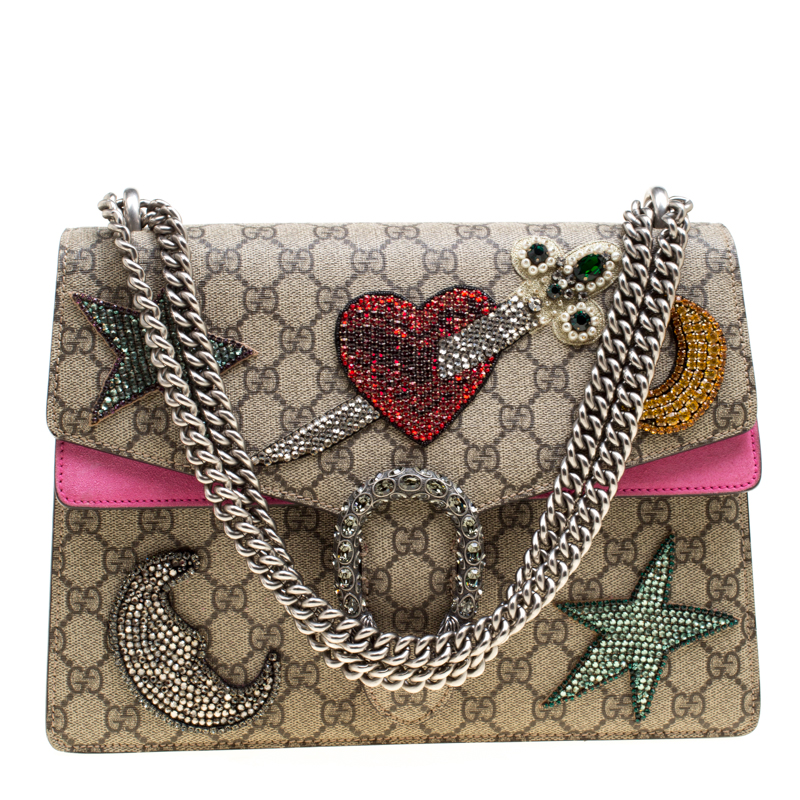 57c58c5f1d6 ... Gucci Beige Pink GG Supreme Canvas Medium Crystal Embellished Dionysus  Shoulder Bag. nextprev. prevnext