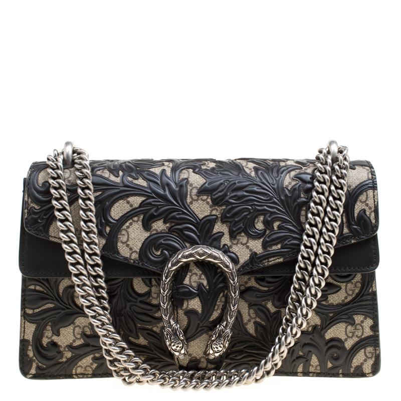 40d7db5838c9 ... Gucci Beige/Black GG Supreme Canvas and Leather Small Dionysus  Arabesque Shoulder Bag. nextprev. prevnext