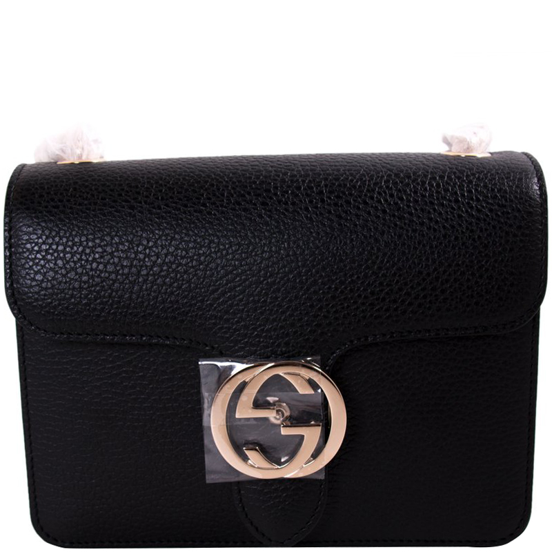 e4fd74a02b7 ... Gucci Black Grained Leather Small Interlocking G Shoulder Bag. nextprev.  prevnext