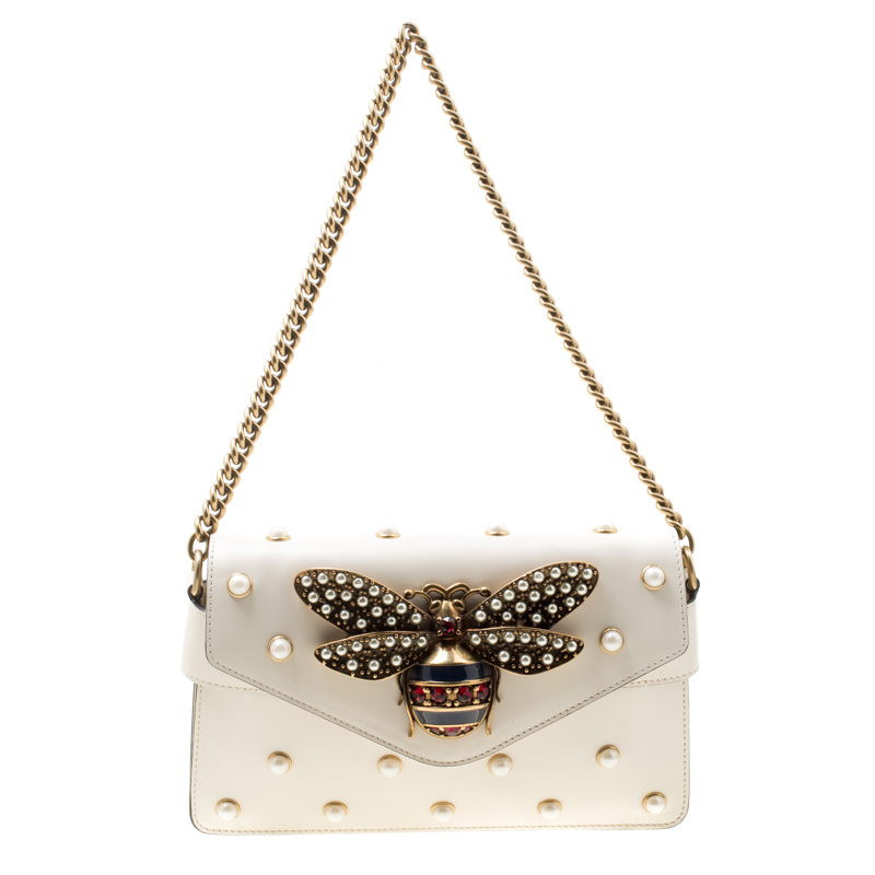 259593ac145 ... Gucci Off White Leather Mini Pearl Embellished Broadway Shoulder Bag.  nextprev. prevnext