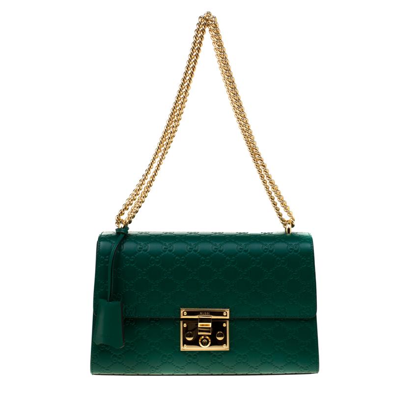 2dab9ff81a6d4d ... Gucci Emerald Guccissima Leather Medium Padlock Shoulder Bag. nextprev.  prevnext