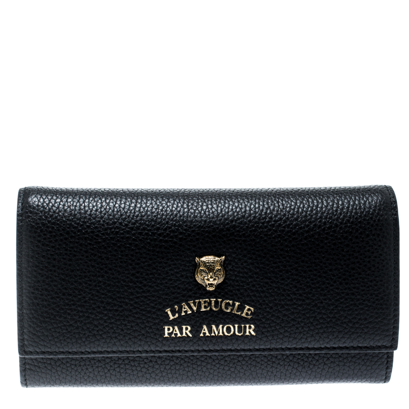 352089392c122e ... Gucci Black Leather Animalier Continental Wallet. nextprev. prevnext