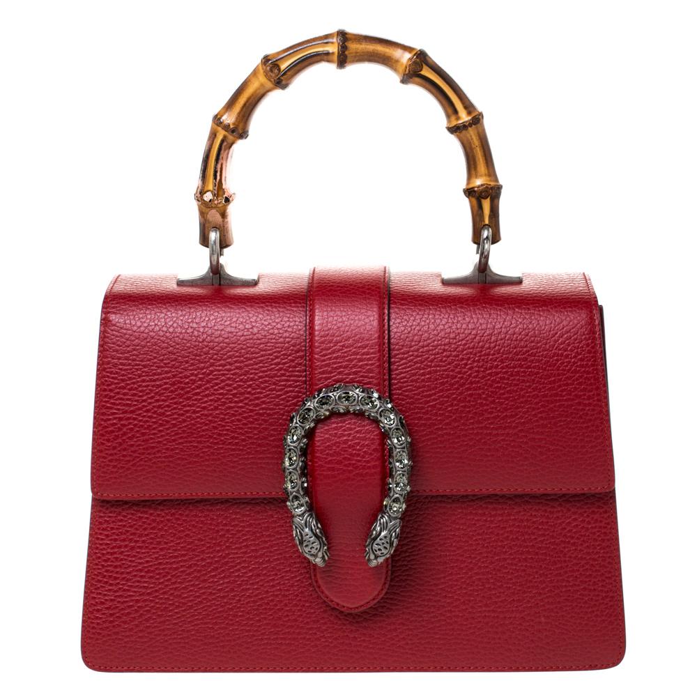 Gucci Red Leather Medium Dionysus Bamboo Top Handle Bag