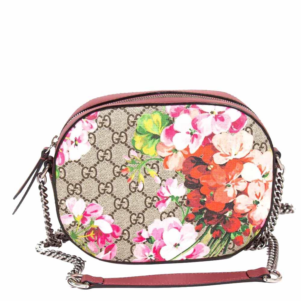 Gucci Grey GG Supreme Canvas Blooms Mini Chain Bag