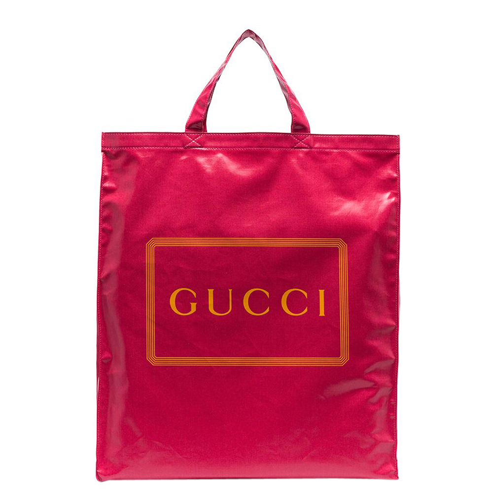 Pre-owned Gucci Pink Logo Print Cotton Medium Tote Bag In Red