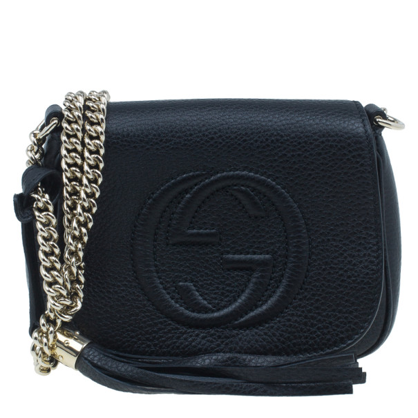 8766b8cc36ae9a Buy Gucci Black Leather Soho Chain Shoulder Bag 6552 at best price | TLC