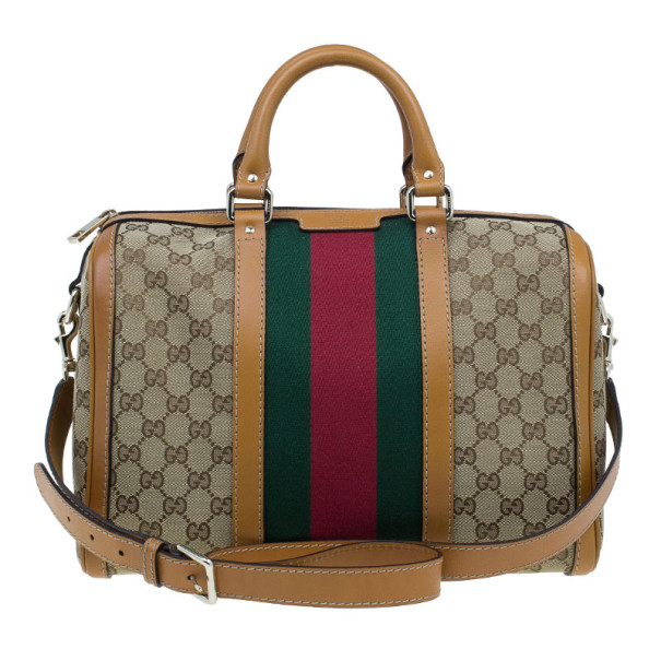 f89f7be93b ... Gucci Original GG Brown Canvas Medium Vintage Web Boston Bag. nextprev.  prevnext