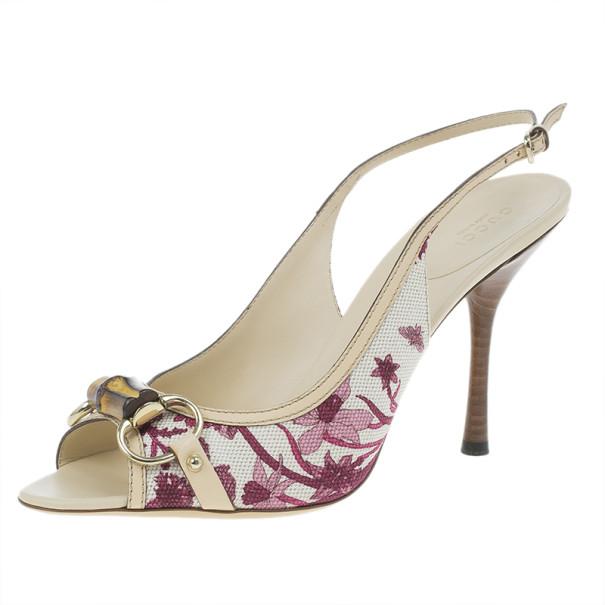 7d3040b89 ... Gucci Pink Flora Canvas Bamboo Horsebit Slingback Sandals Size 41.  nextprev. prevnext