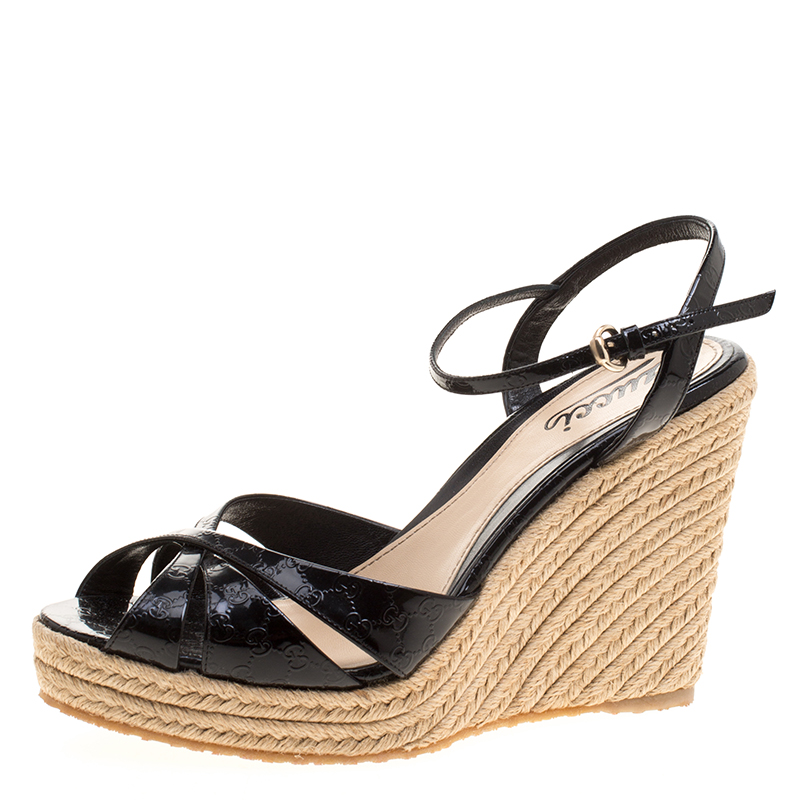 494ed109b273 ... Gucci Black Patent Microguccissima Leather Penelope Espadrille Wedge  Sandals Size 38. nextprev. prevnext