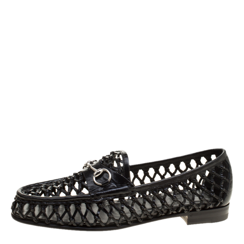 825d59f5e Buy Gucci Black Woven Leather Horsebit Loafers Size 37 138092 at ...