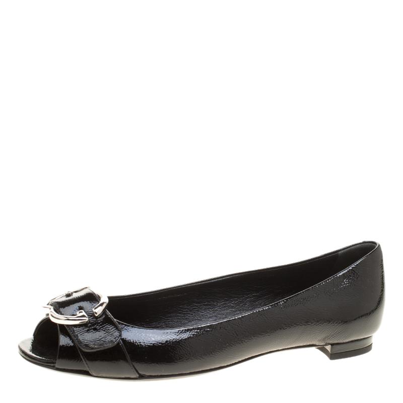 7913cb8daf ... Gucci Black Patent Leather Marmont GG Buckle Peep Toe Ballet Flats Size  38. nextprev. prevnext