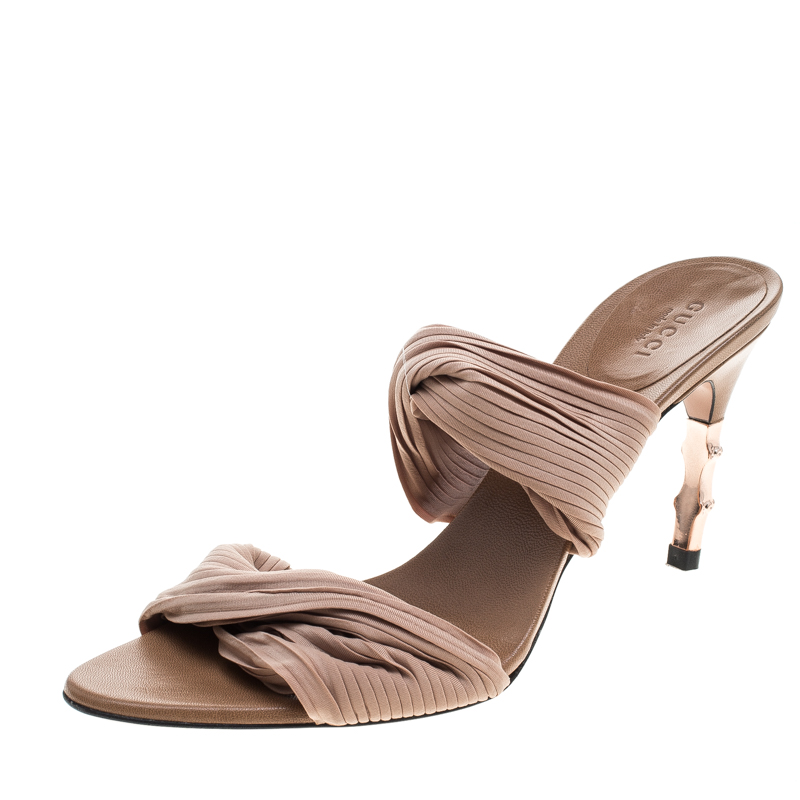 4d0008d663c5 Buy Gucci Beige Stretch Plisse Fabric Bamboo Heel Slides Size 38.5 ...