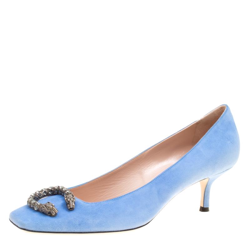 b65a41b58 Gucci Powder Blue Suede Dionysus Square Toe Pumps Size 39 154162