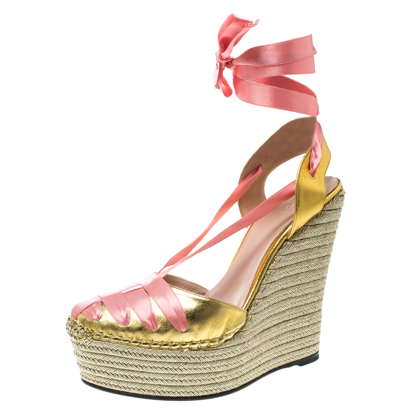 53651804b10 ... Gucci Metallic Gold Pink Leather and Satin Alexis Wrap Platform Wedge  Sandals Size 39. nextprev. prevnext