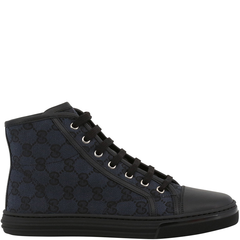 a332e77429a ... Gucci Black Blue GG Canvas and Leather Lace Up High Top Sneakers Size  38. nextprev. prevnext