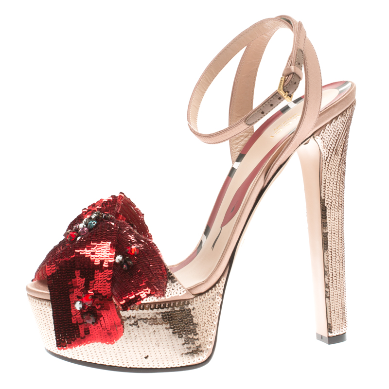 83b4b0d3c01 ... Gucci Metallic Beige and Red Sequins Embellished Cross Ankle Strap  Platform Sandals Size 39.5. nextprev. prevnext